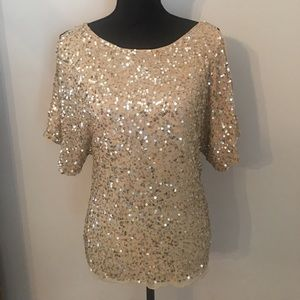 Adrianna Papell Evening Gold Sequins Blouse Top M